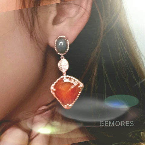 Raw Gems Rainbow labradorite with Carnelian gold earrings