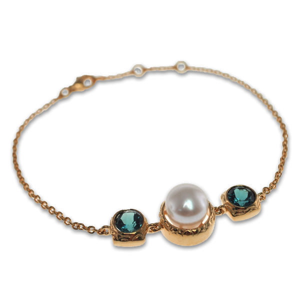 Vintage Imperial london blue topaz with signature pearl bracelet