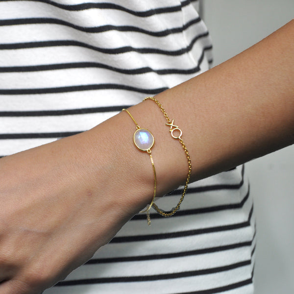 Le Emmalyn Signature rainbow moonstone fancy cut bracelet in 18K gold