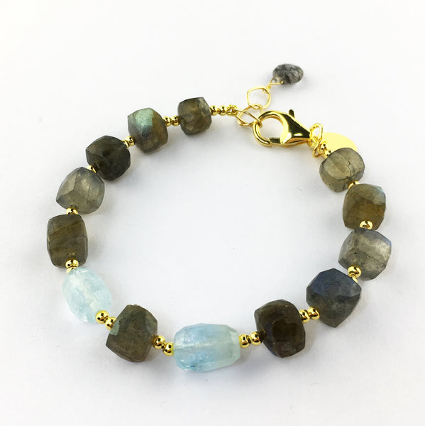 Raw Gems Collection rainbow labradorite with fancy cut prehnite bracelet in 18K gold