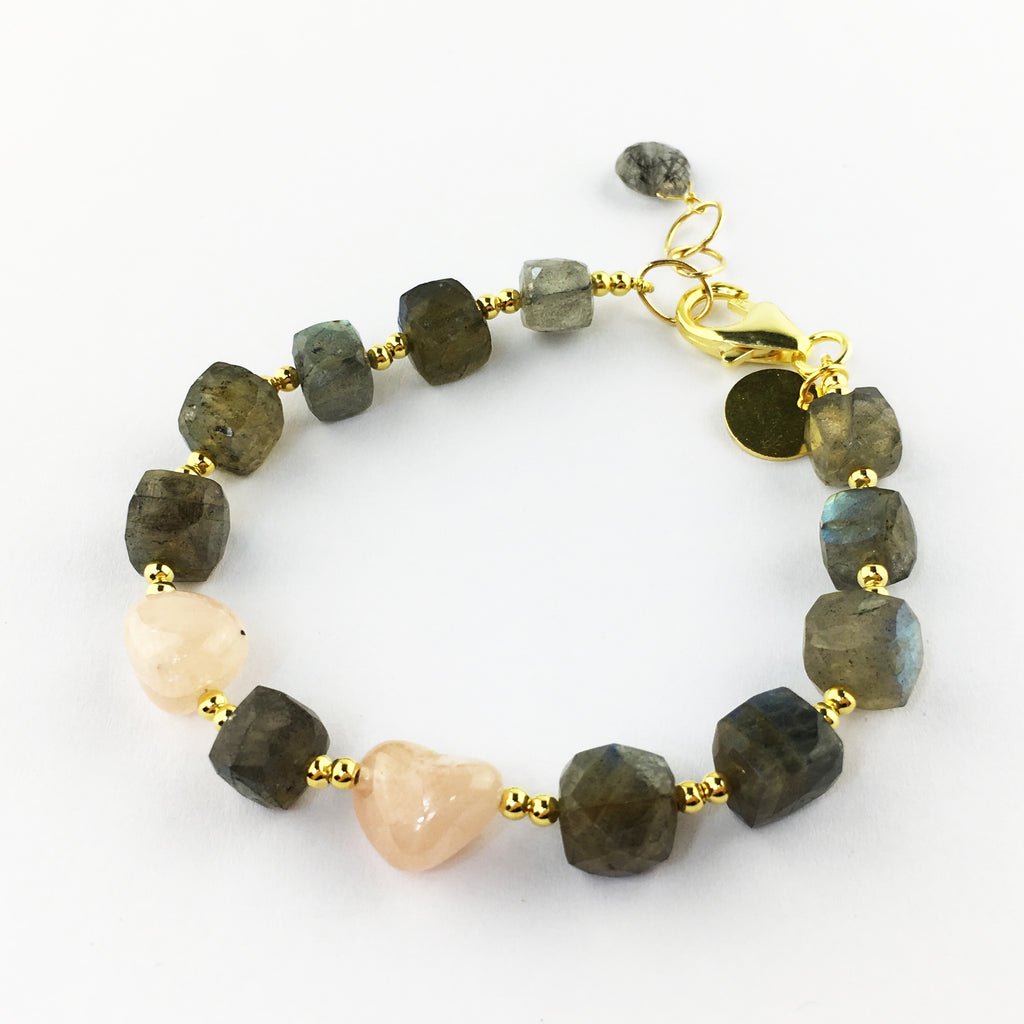 Raw Gems Collection rainbow labradorite with fancy cut morganite aquamarine bracelet in 18K gold