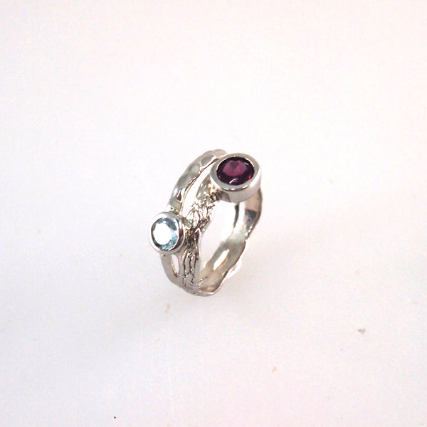 Burgundy garnet stackable ring in white gold