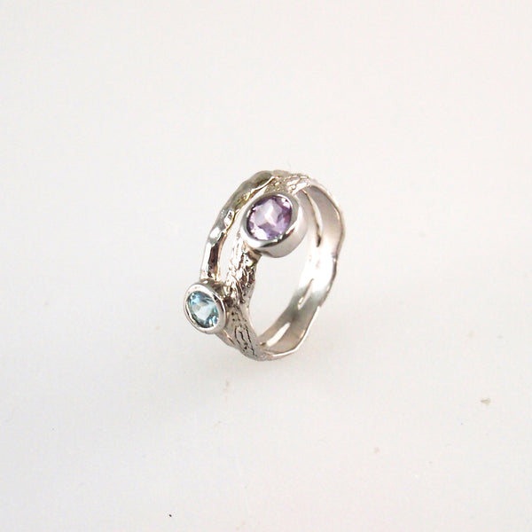 Denim blue iolite stackable ring in white gold