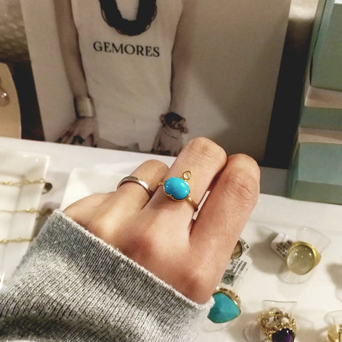 Raw Gems Sleeping beauty turquoise stackable ring in 18K gold