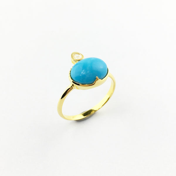 Raw Gems stackable ring set in sleeping beauty turqoise