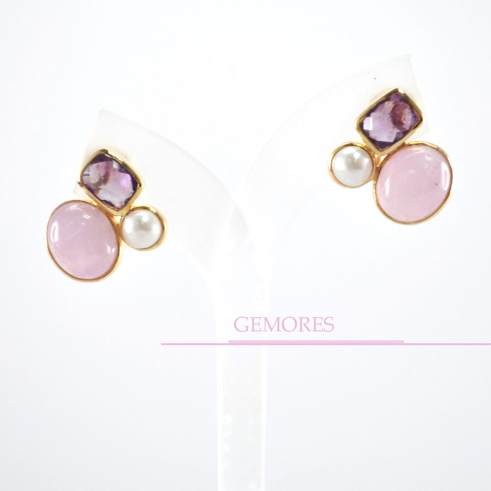 457381f5f ... Astrid Collection lustrous pearl with pink kunzite in 18K gold Earrings