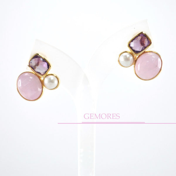 Astrid Collection lustrous pearl with pink kunzite in 18K gold Earrings