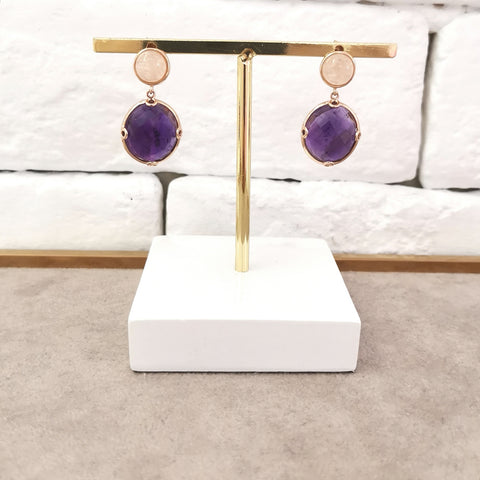 Astrid Collection pink morganite & faceted amethyst in 18K gold Earrings