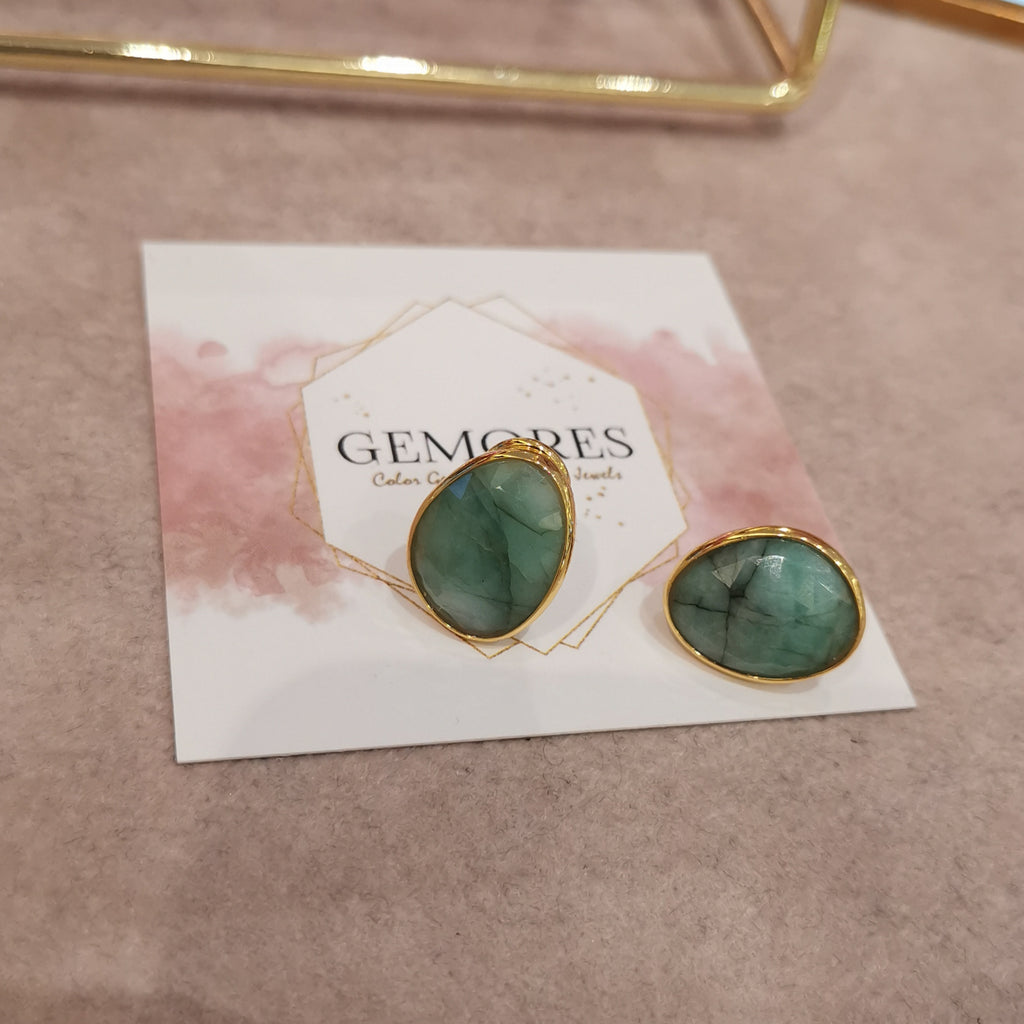 Emerald gems sparkling cut earrings in Astrid Collection