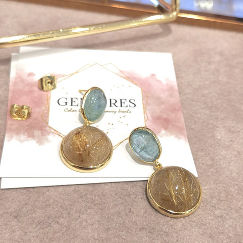 The bespoke rough cut aquamarine setting with golden rutilized quartz earrings in 18K gold plated