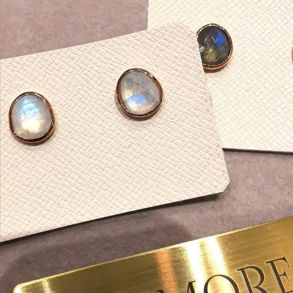 Le Emmalyn brighten rainbow moonstone stud earrings
