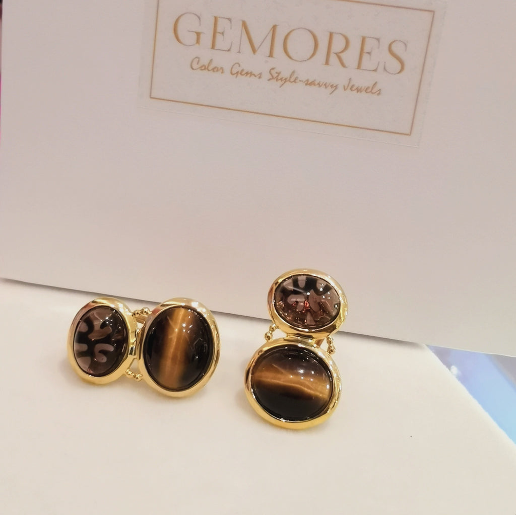 Astrid Collection ttiger eye & smoky quartz 18K gold Earrings