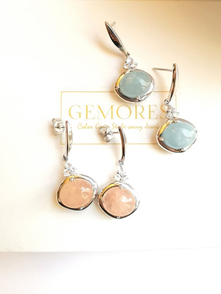 Astrid Collection silver earrings with aquamarine gemstone