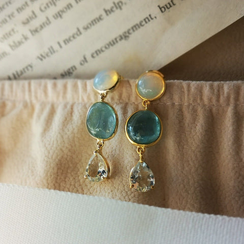 Vintage Imperial Opal Aquamarine Earrings