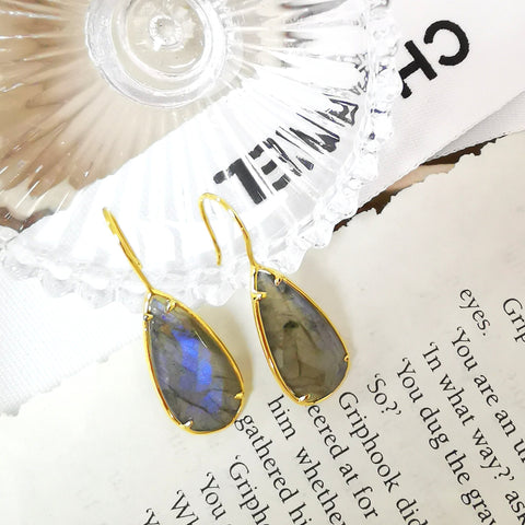 Le Emmalyn rainbow grey labradorite eye drop earrings