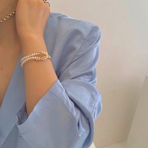 Monde Pearl double bracelet in vermail