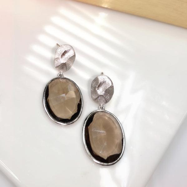 Raw Gems smoky quartz earrings in matt finished