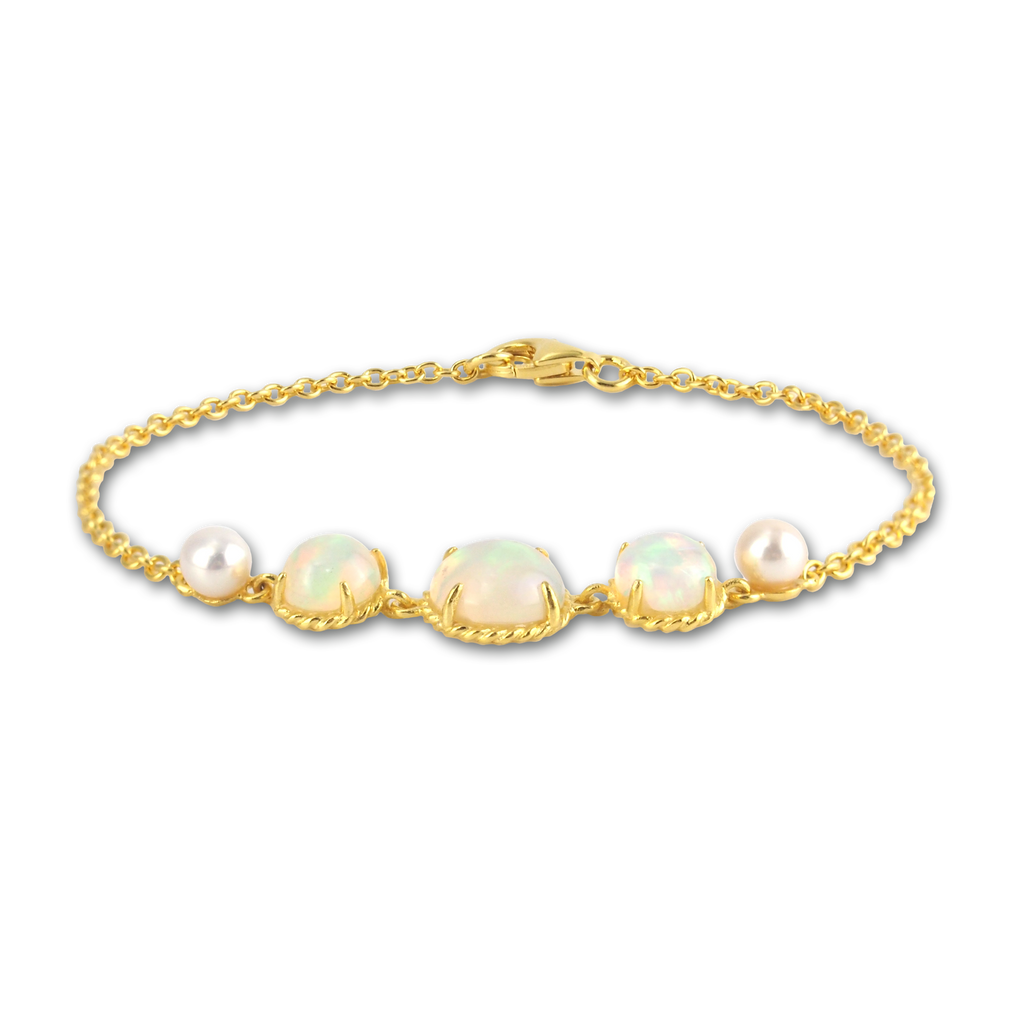 7bacd1f40 Astrid collection rainbow opal bracelet in 18K gold – Gemores
