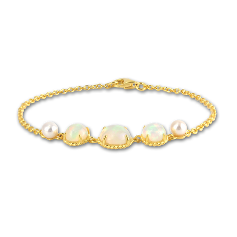 Rainbow opal bracelet Astrid collection in 18K gold