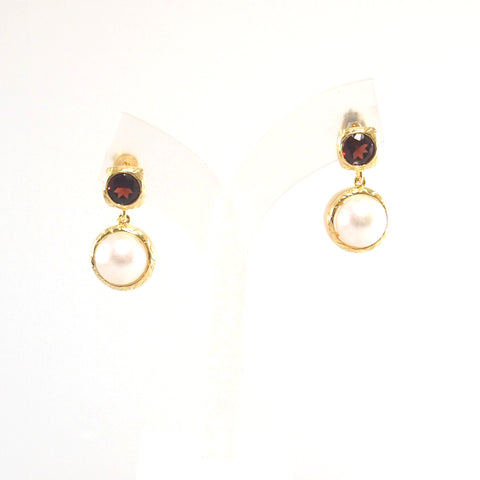 Vintage Imperial lustrous pearl bezel with sparkling faceted garnet earrings