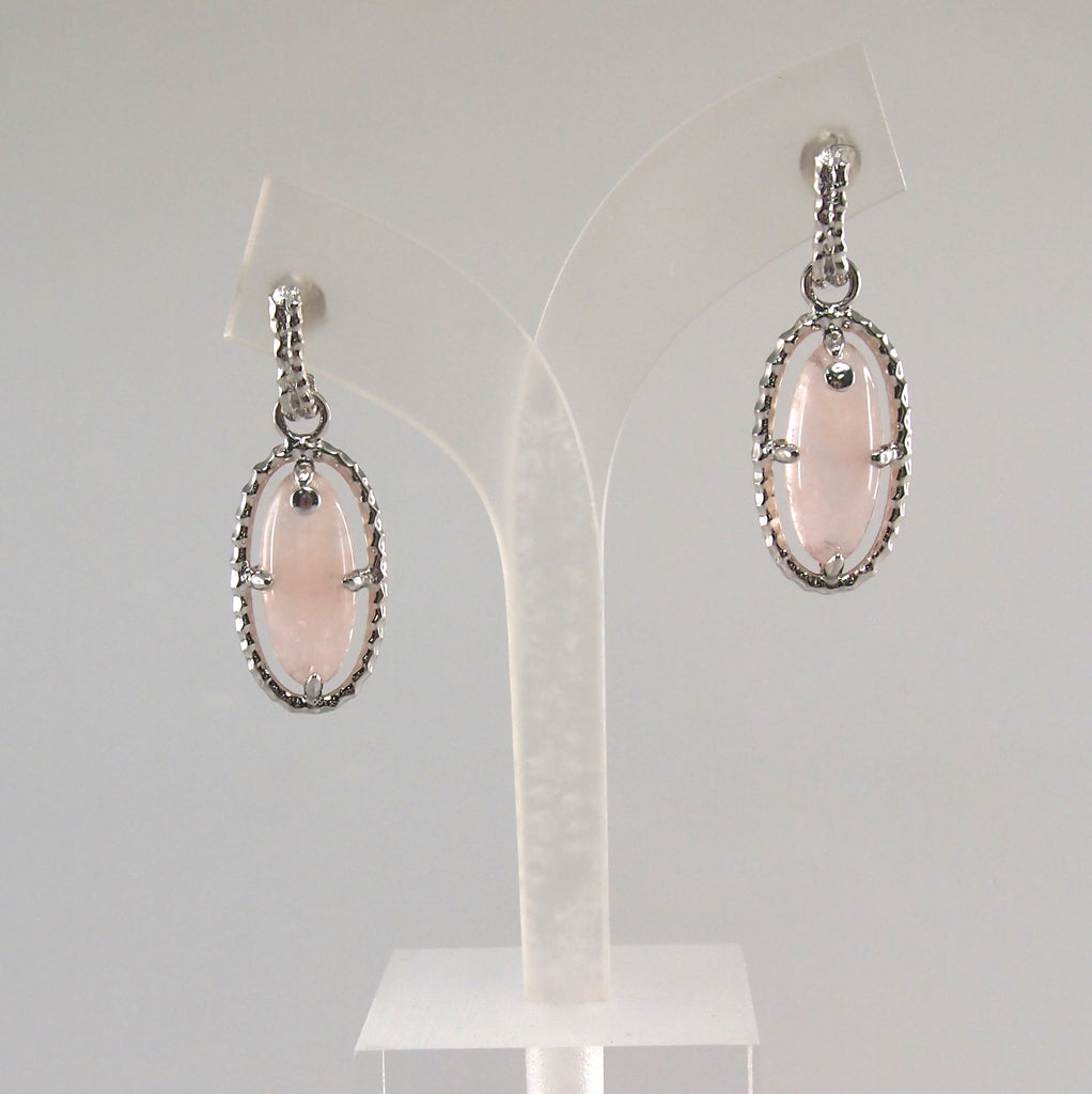 Olive oval pink morganite earrings in 925 silver