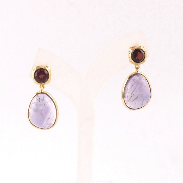 Pink amethyst bezel with burgundy garnet earrings in 18K gold