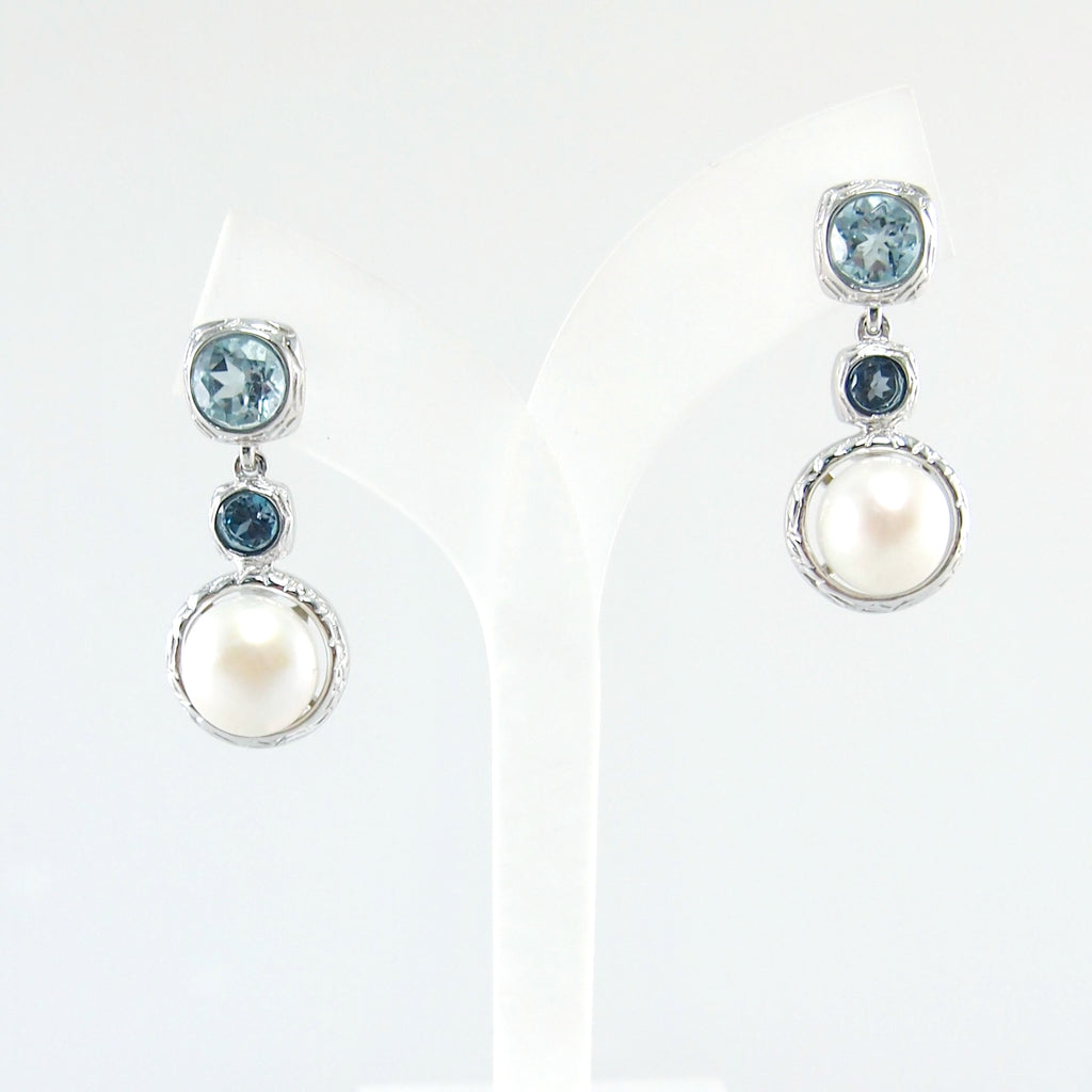 Vintage Imperial swiss blue topa zwith Pearl Earrings in gold