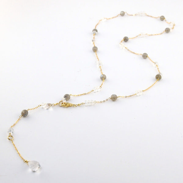 En Saison rainbow feldspar long drop necklace