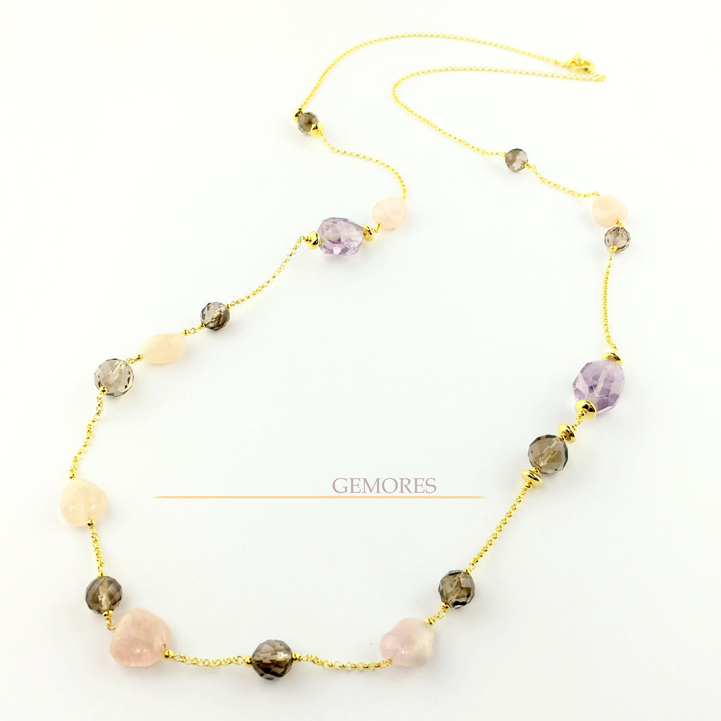 Raw Gems collection rock pink amethyst with morganite long necklace in 18K gold
