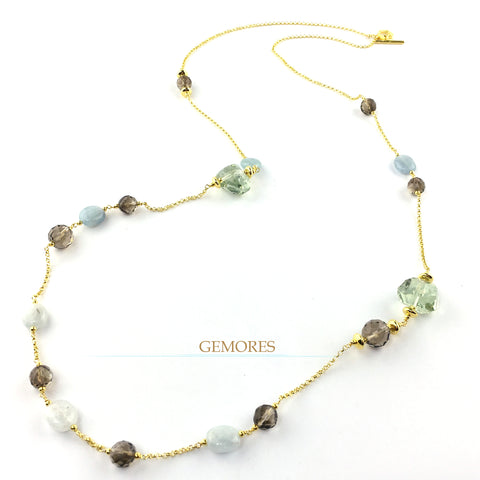 Raw Gems collection rock prasiolite with ocean aqua long necklace in 18K gold