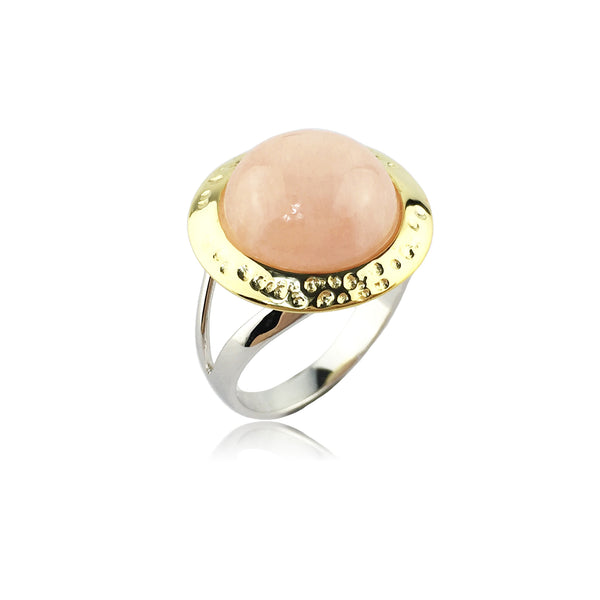 Nora ring set in pink morganite with two tone finished