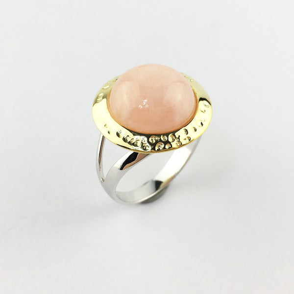 En Saison morganite ring in gold and silver tone