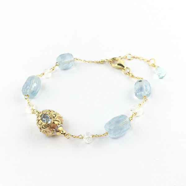 Raw Gems ocean blue aqua bracelet in 18K gold