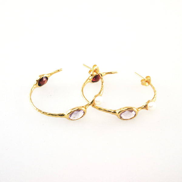 Hoop earrings set with pink amethyst and burgundy garnet in 18K gold