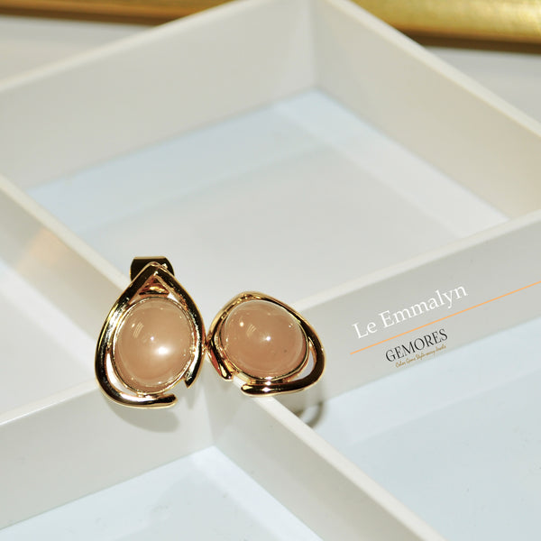 Le Emmalyn peachy moonstone stud earrings