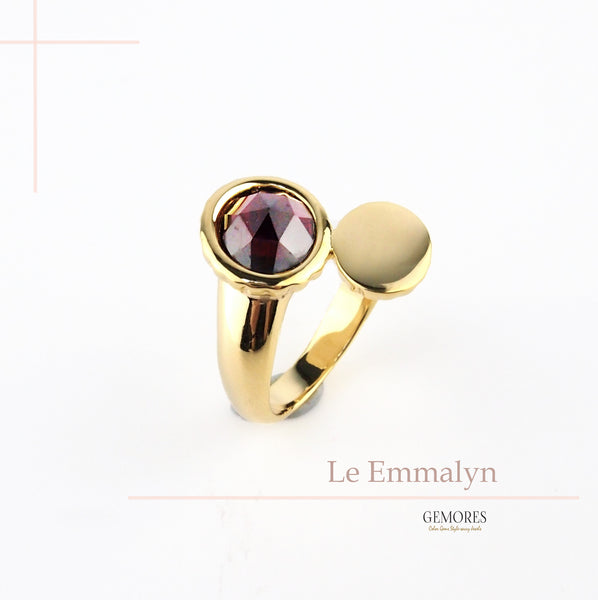 Le Emmalyn burgundy garnet stackable ring in yellow gold
