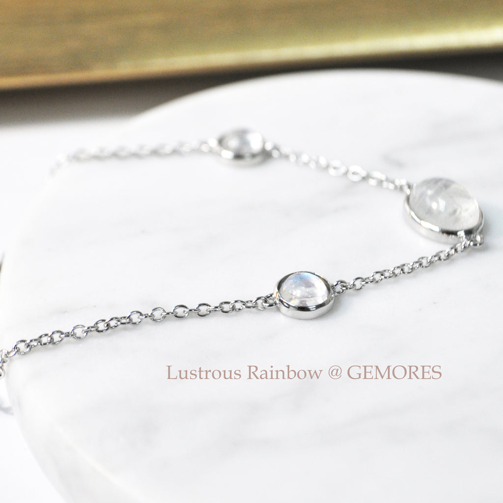 Le Emmalyn rainbow moonstone bracelet in white gold