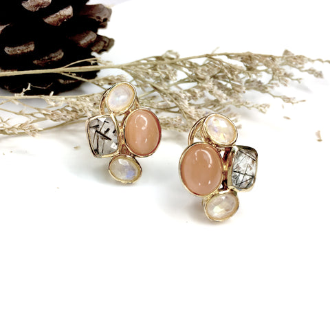 Astrid Collection 18K gold Earrings in rainbow and peachy moonstone