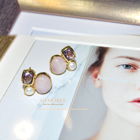 Astrid Collection pink kunzite & lustrous pearl in 18K gold Earrings
