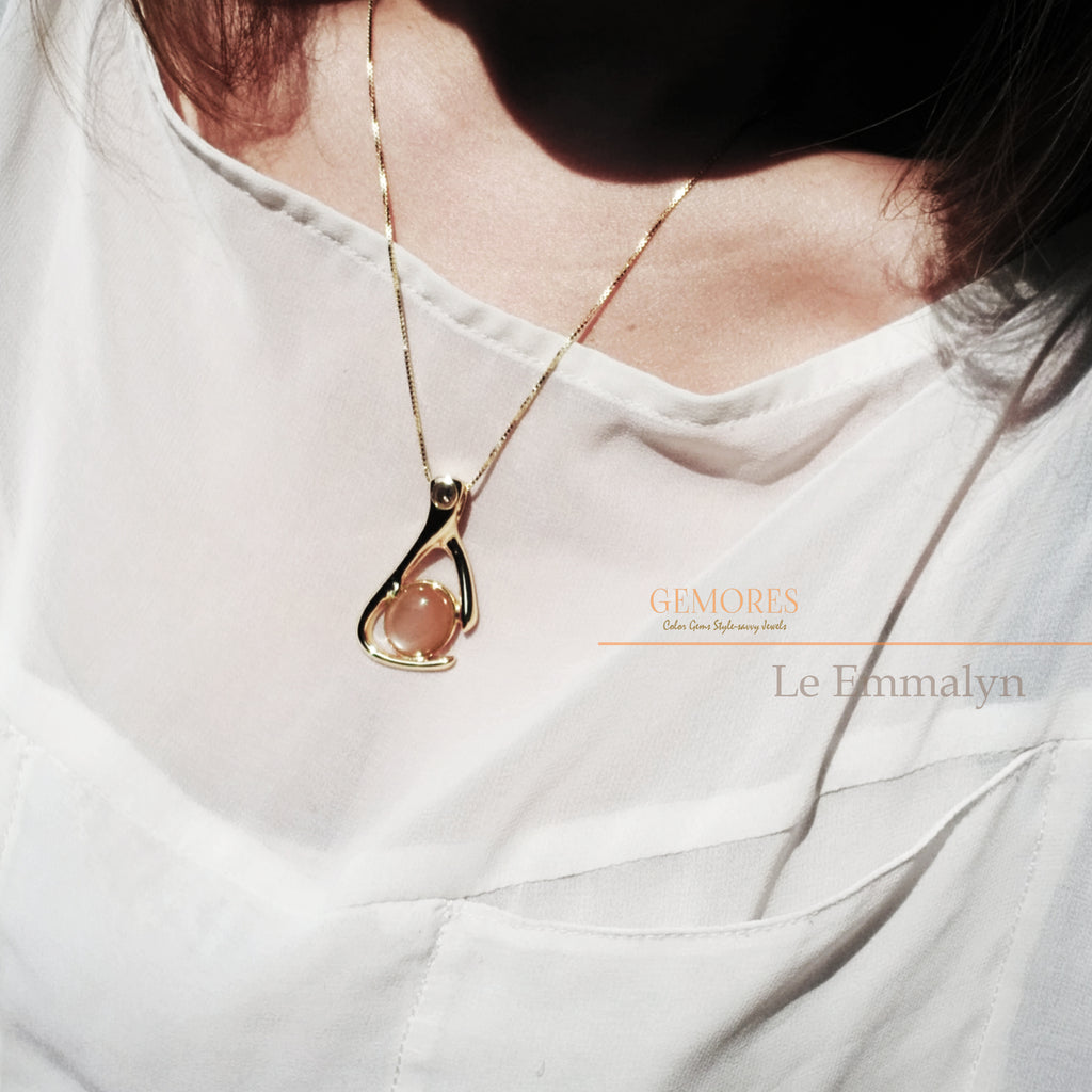 Le Emmalyn peachy moonstone necklace