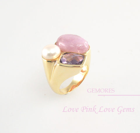 Astrid Collection pink kunzite & lustrous pearl in 18K gold Ring