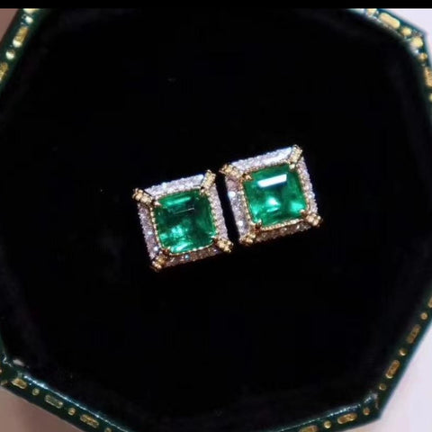 Vintage Imperial royal emerald earrings in princess cut