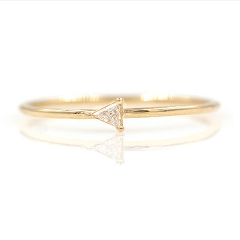 18K Gold Fancy Trillion Diamond Ring
