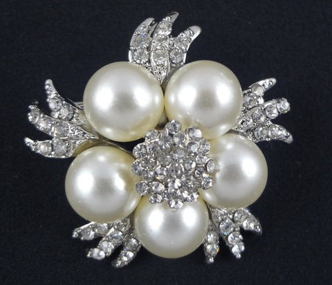 Crystal Pearl Brooch - FB0006 - Fancy Brooches