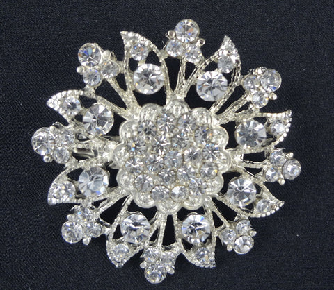 Crystal Flower Brooch - FB0010 - Fancy Brooches