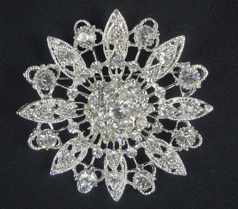 Flower Crystal Brooch  - FB0055 - Fancy Brooches