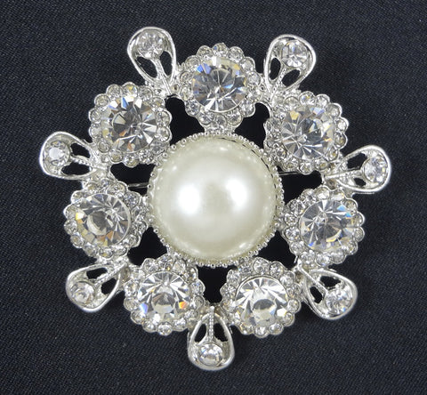 Crystal Pearl Brooch - FB0014 - Fancy Brooches