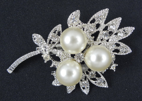 Crystal Pearl Brooch - FB0023 - Fancy Brooches