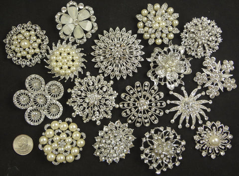 Wholesale Lot of 10-20 Large Assorted Crystal Brooches (#200) - Fancy Brooches - 1