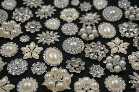 Wholesale Lot of 10-50 Crystal Flat-Back Buttons (lot #110) - Fancy Brooches - 1